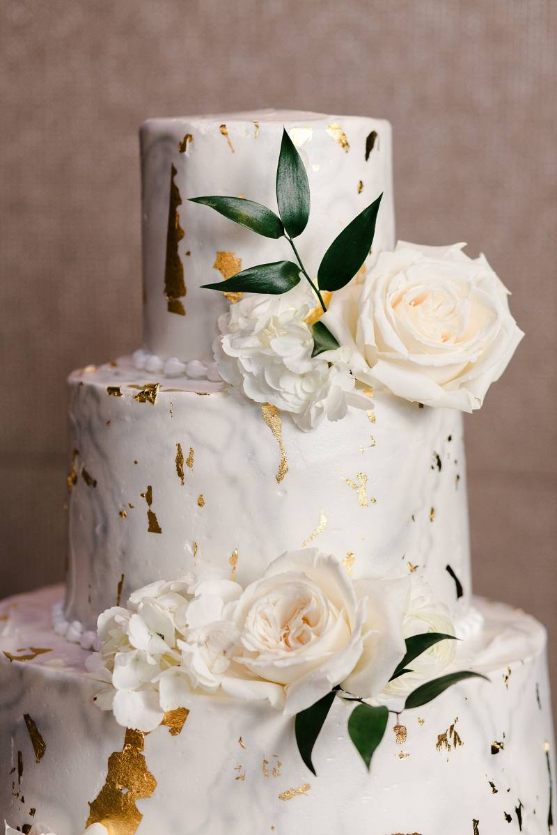 White and gold wedding cake: Bell Tower Wedding featured on Nashville Bride Guide