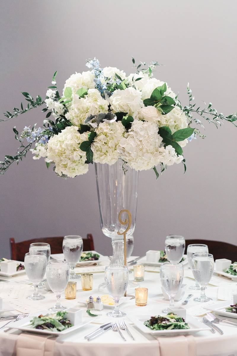 Tall wedding centerpieces: Bell Tower Wedding featured on Nashville Bride Guide