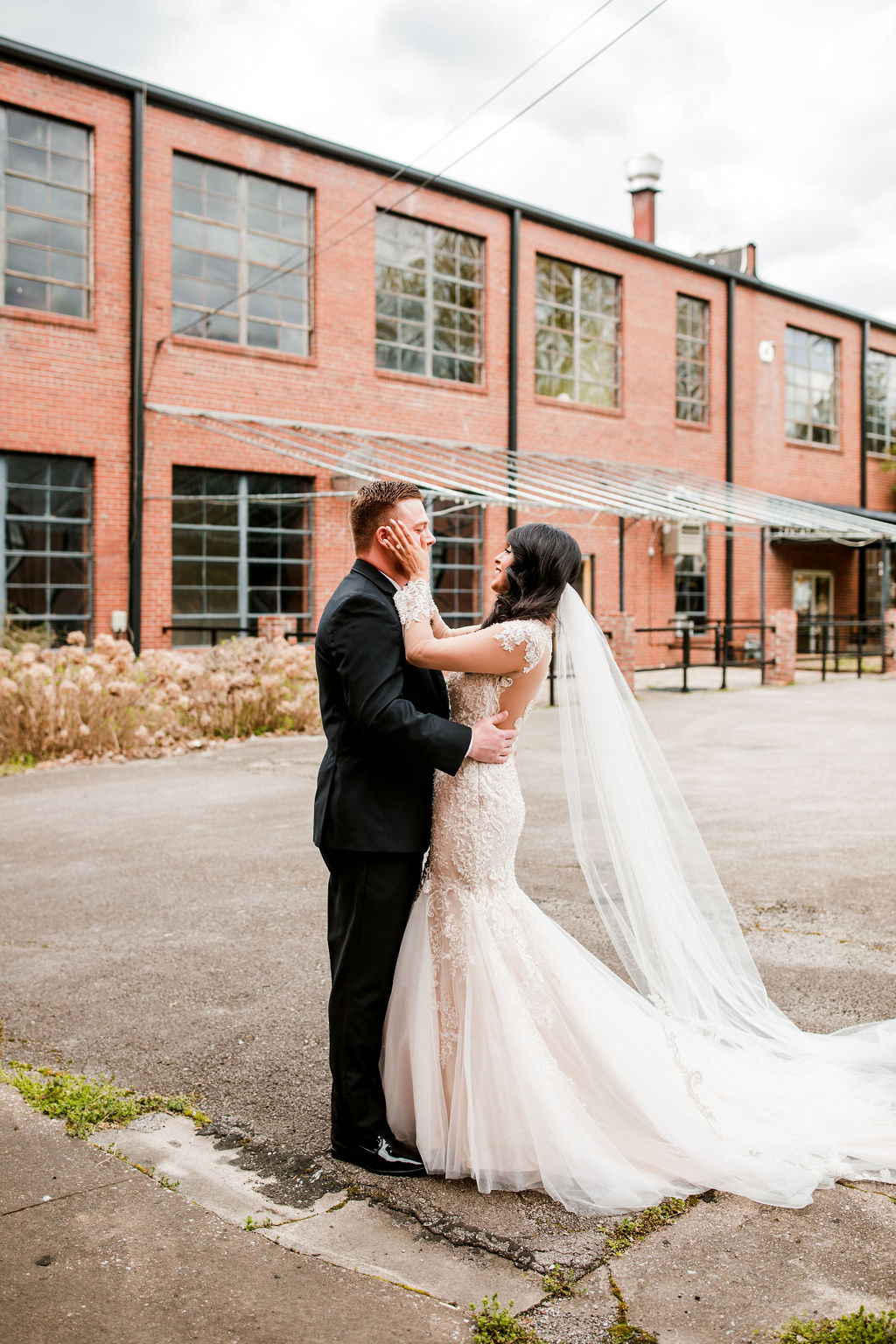 Wedding first look: Wedding at The Mill captured by John Myers Photography featured on Nashville Bride Guide