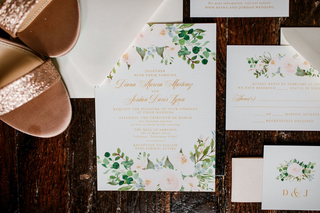 Greenery wedding stationery: Wedding at The Mill captured by John Myers Photography featured on Nashville Bride Guide