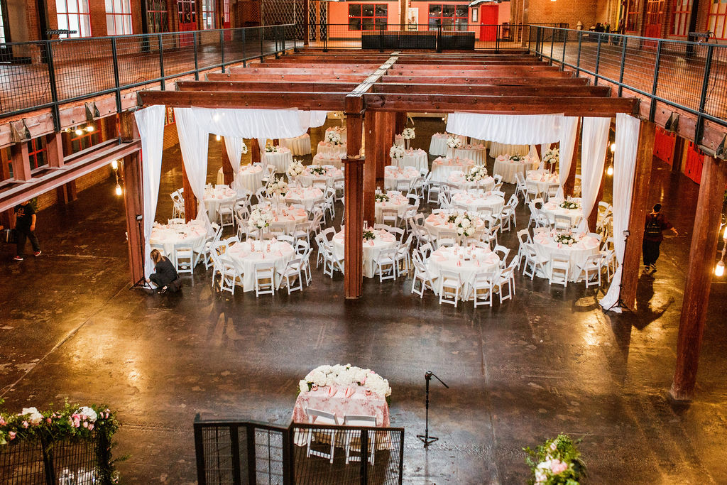 Wedding reception design: Wedding at The Mill captured by John Myers Photography featured on Nashville Bride Guide