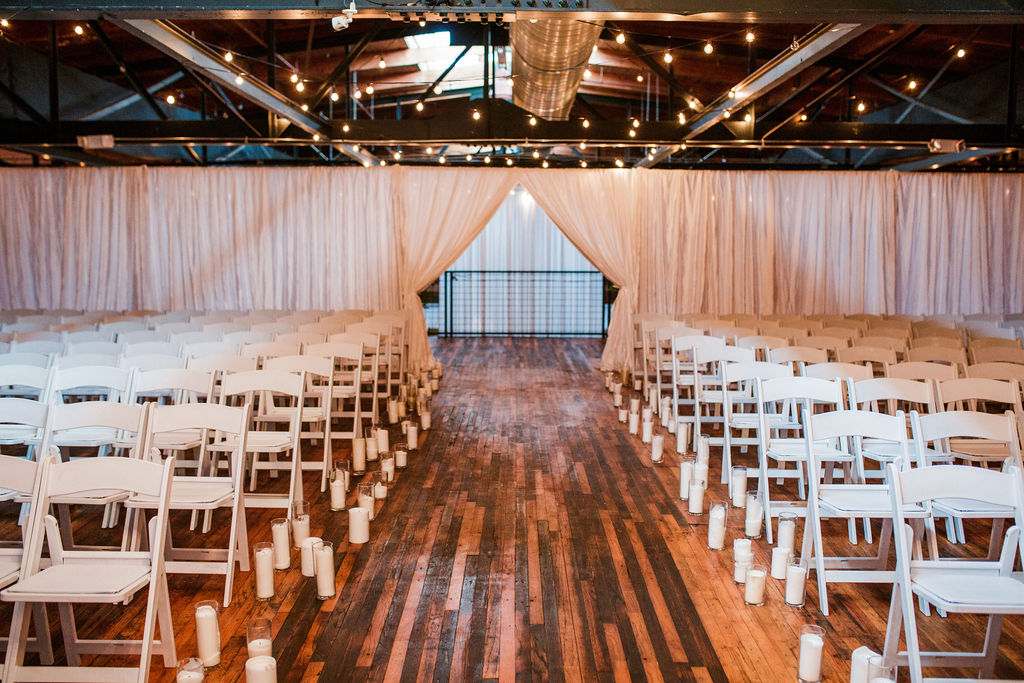 Candlelit wedding ceremony: Wedding at The Mill captured by John Myers Photography featured on Nashville Bride Guide