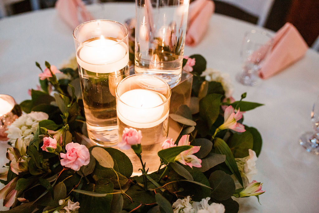 Candle wedding centerpieces: Wedding at The Mill captured by John Myers Photography featured on Nashville Bride Guide