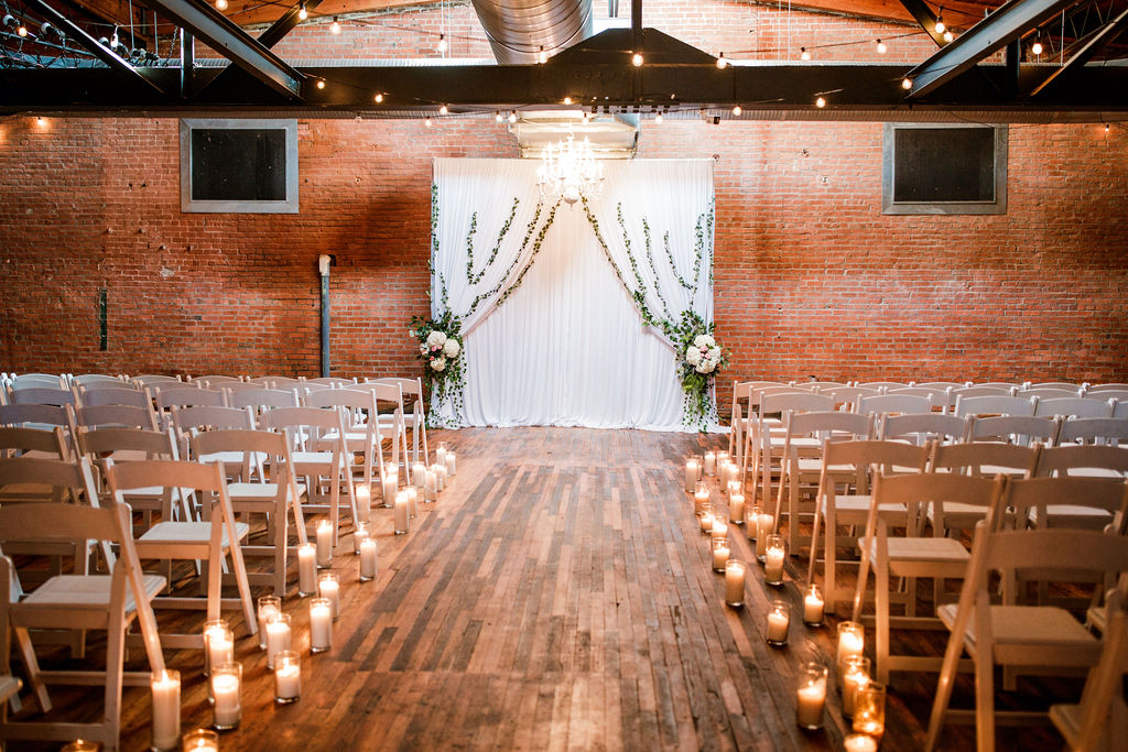 Wedding ceremony decor: Wedding at The Mill captured by John Myers Photography featured on Nashville Bride Guide