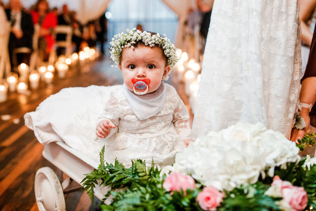 Flower girl flower crown: Wedding at The Mill captured by John Myers Photography featured on Nashville Bride Guide