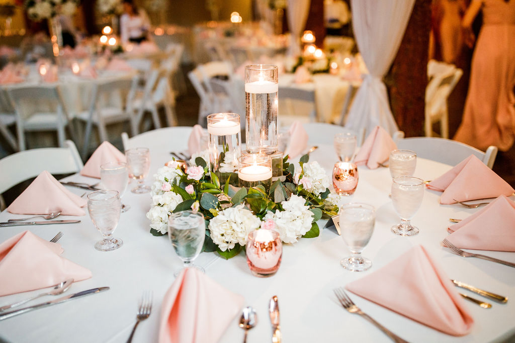 Elegant wedding centerpieces: Wedding at The Mill captured by John Myers Photography featured on Nashville Bride Guide