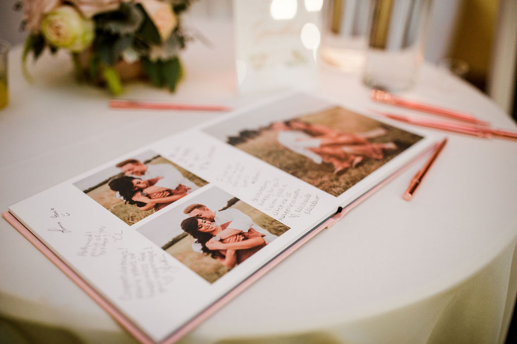 Artifact Uprising Wedding Guest Book: Wedding at The Mill captured by John Myers Photography featured on Nashville Bride Guide