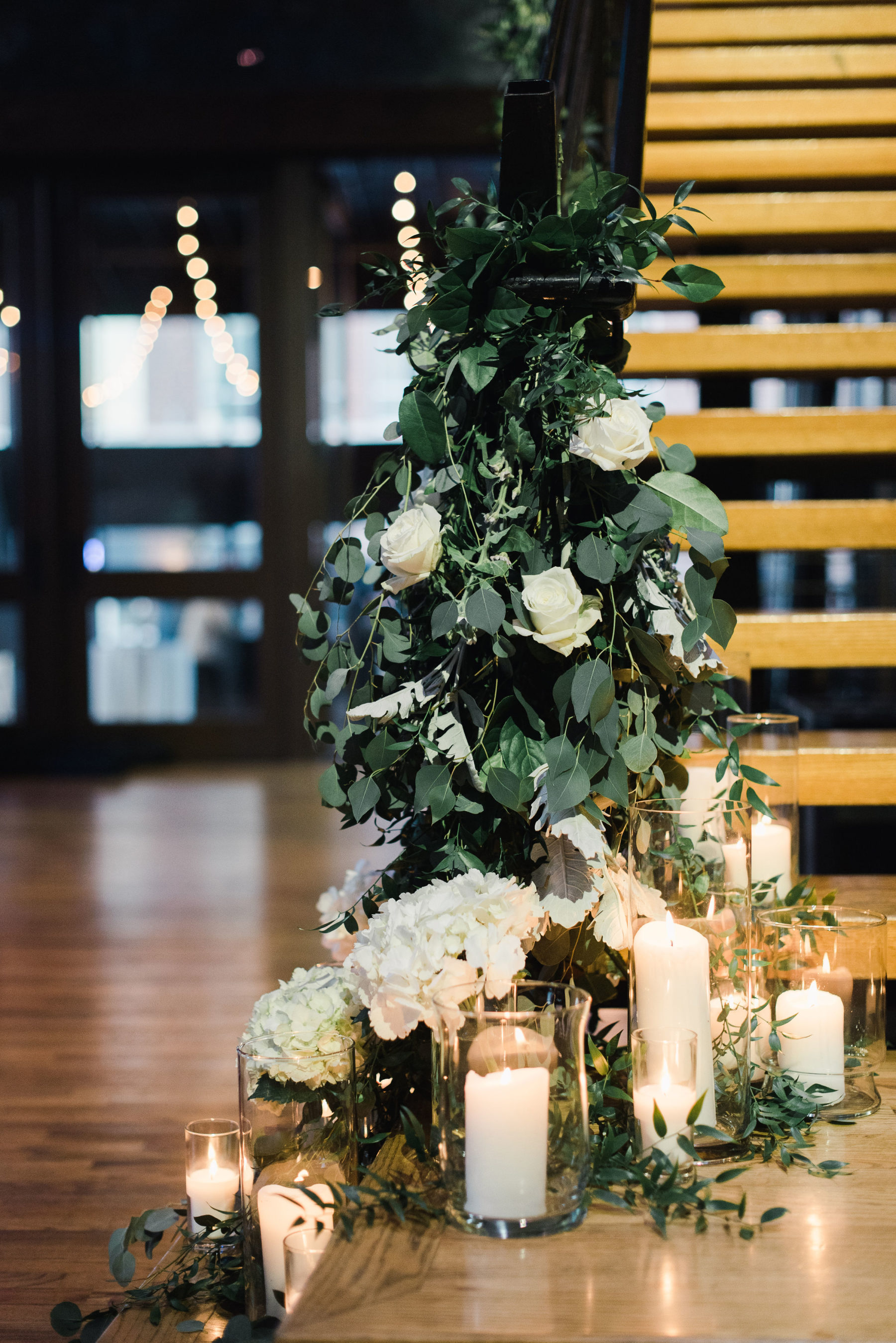 Greenery wedding reception decor: Bell Tower Wedding featured on Nashville Bride Guide