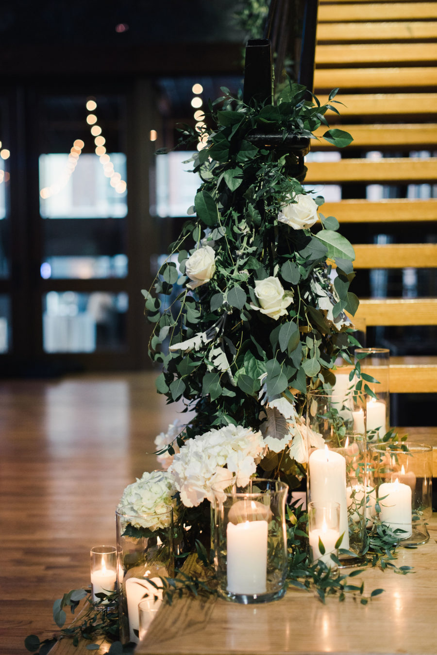 Greenery wedding reception decor: Bell Tower Wedding featured on Nashville Bride Guide