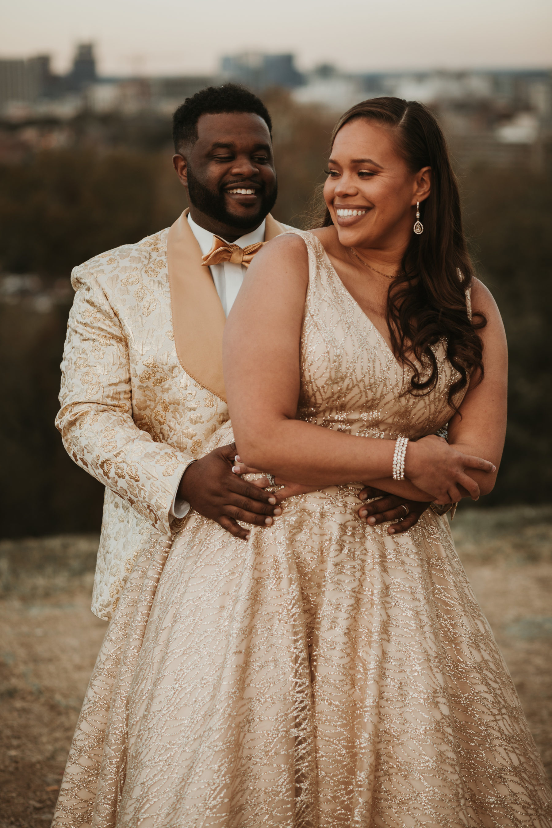 Gold wedding attire: Luxurious Stone Rivers Country Club Wedding featured on Nashville Bride Guide