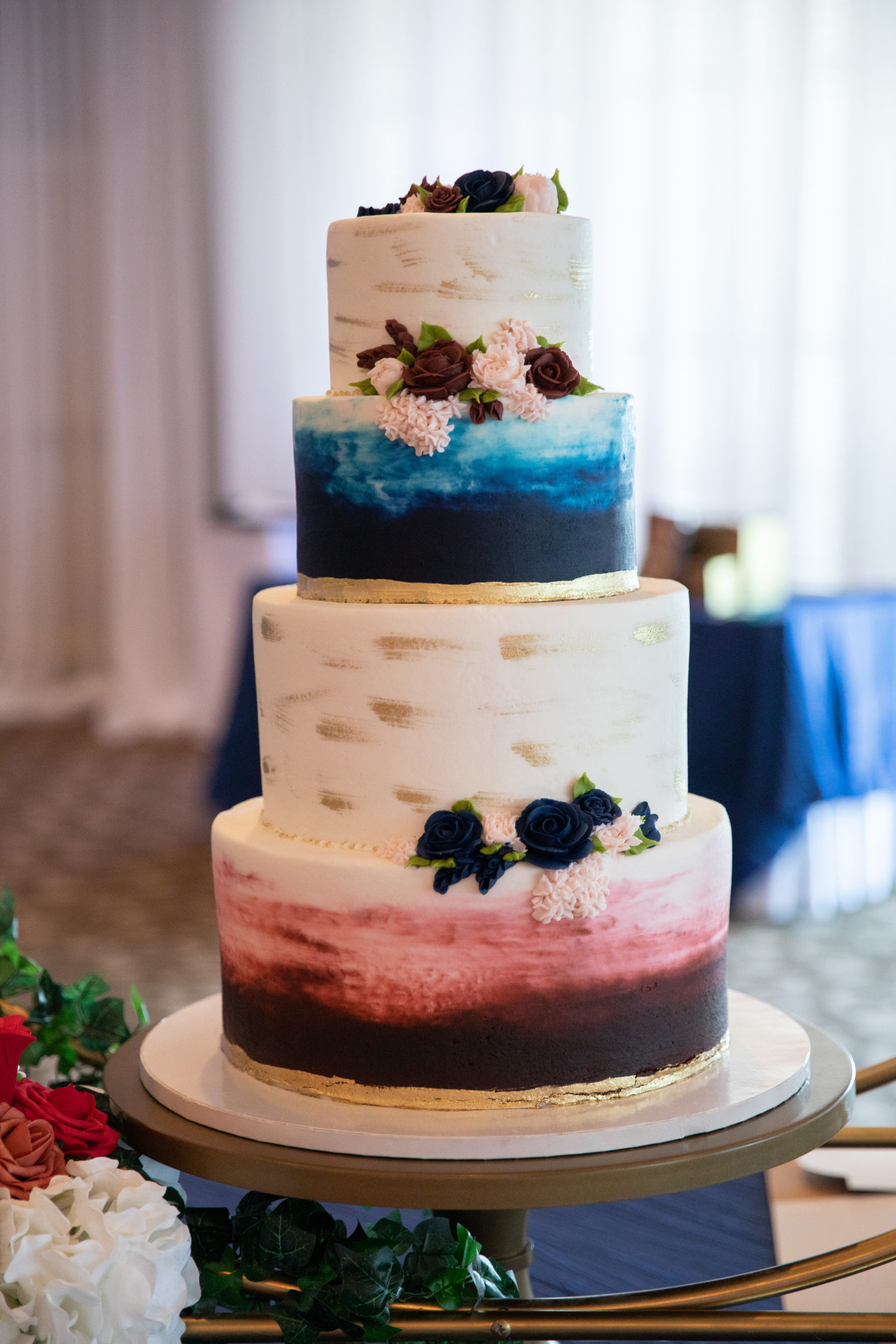 Colorful wedding cake design: Luxurious Stone Rivers Country Club Wedding featured on Nashville Bride Guide