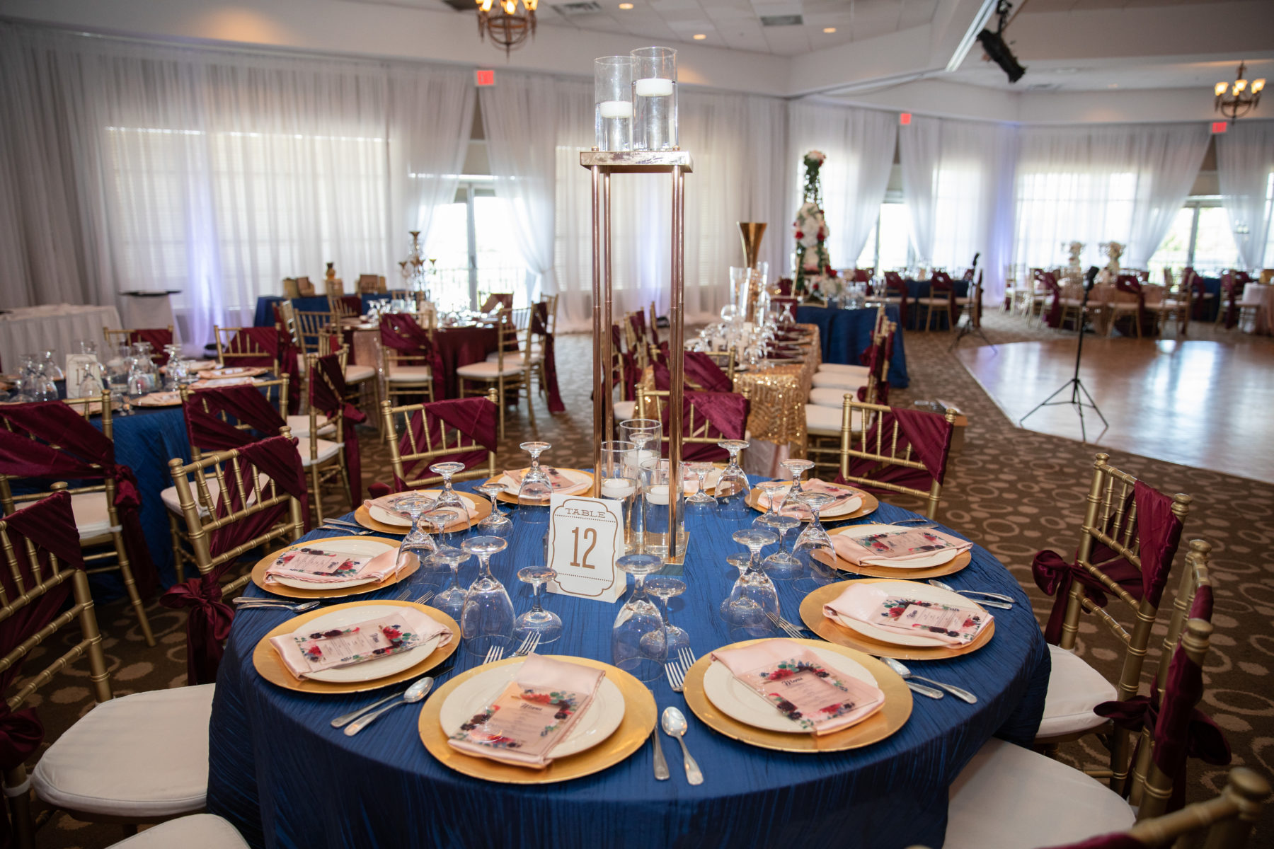 Navy and gold wedding table decor: Luxurious Stone Rivers Country Club Wedding featured on Nashville Bride Guide