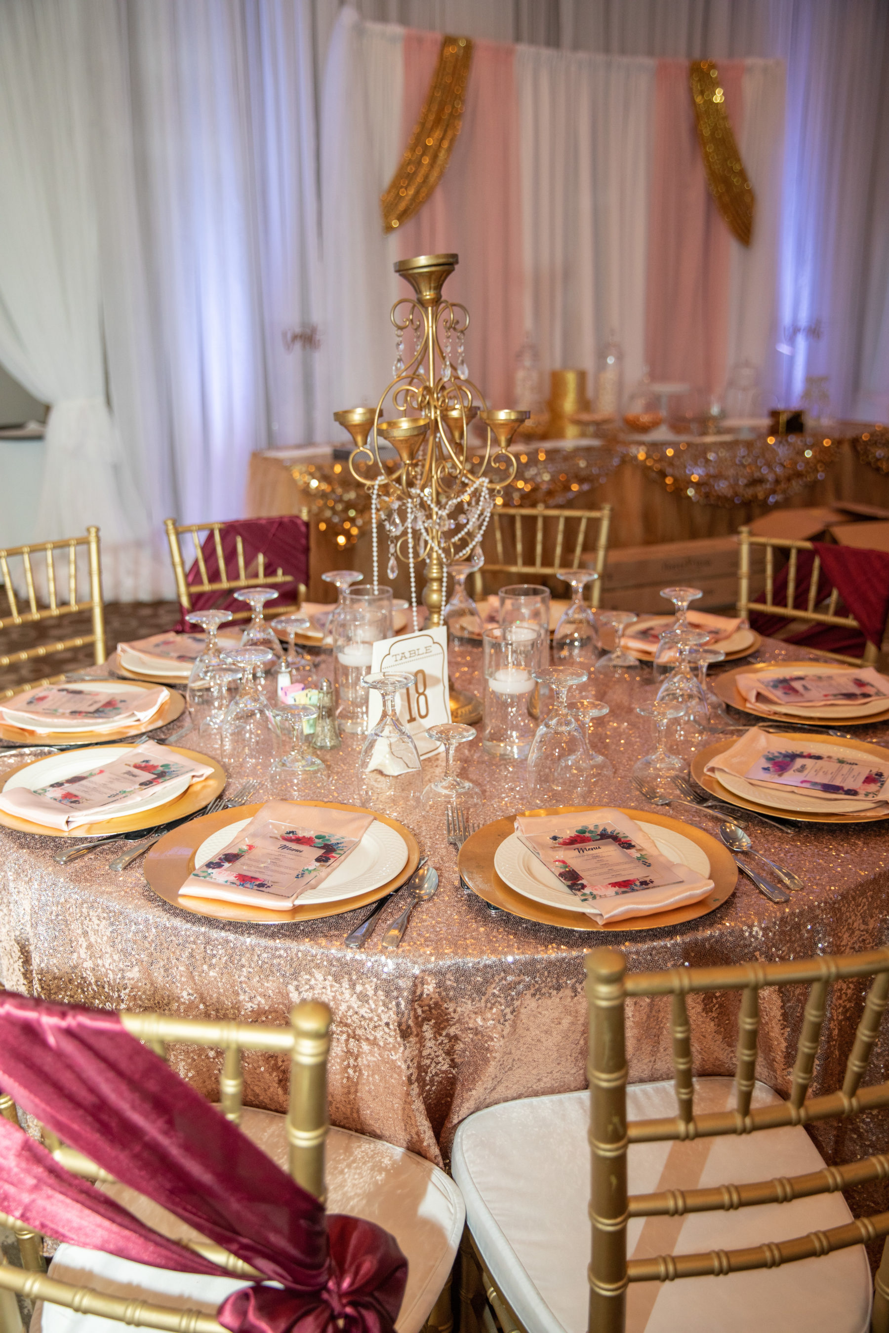 Rose gold wedding table linens: Luxurious Stone Rivers Country Club Wedding featured on Nashville Bride Guide