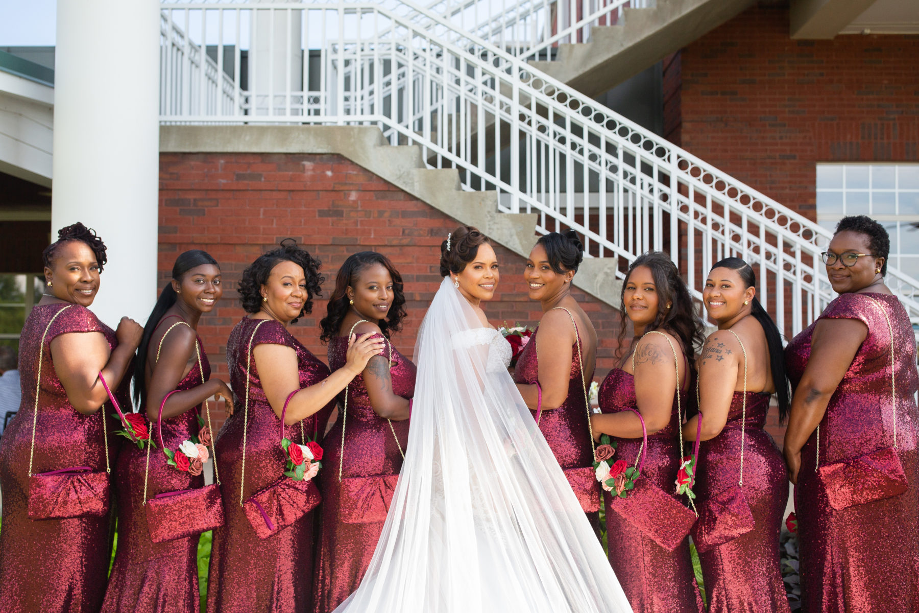 Sparkly maroon bridesmaid dresses: Luxurious Stone Rivers Country Club Wedding featured on Nashville Bride Guide