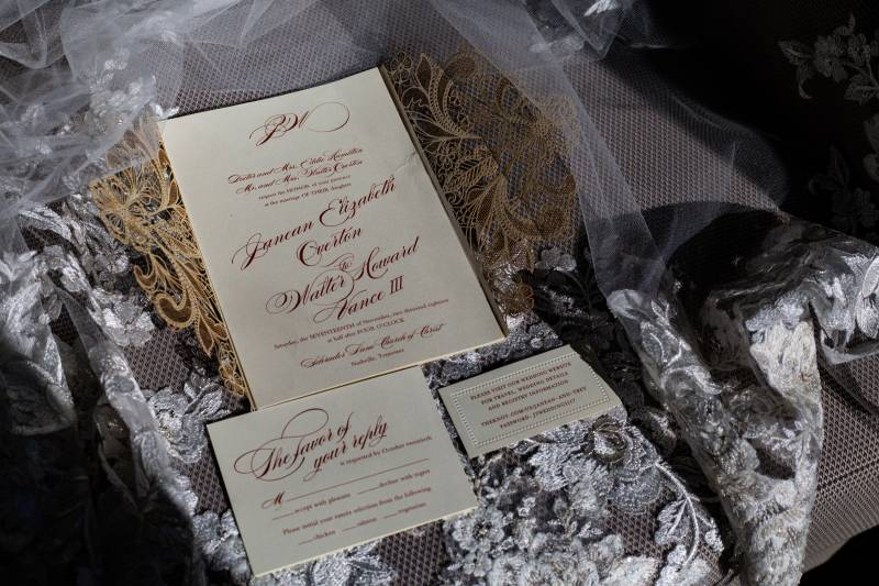 Elegant wedding invitation design: Downtown Hilton Nashville wedding captured by Sharon Theresa Wheaton Photography featured on Nashville Bride Guide
