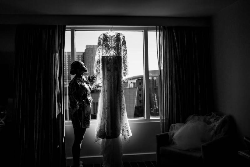 Wedding dress portrait: Downtown Hilton Nashville wedding captured by Sharon Theresa Wheaton Photography featured on Nashville Bride Guide