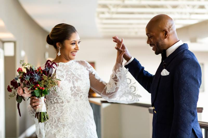 Bride and groom first look: Downtown Hilton Nashville wedding captured by Sharon Theresa Wheaton Photography featured on Nashville Bride Guide