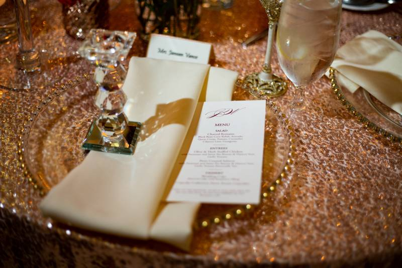 Rose gold and ivory wedding table decor: Downtown Hilton Nashville wedding captured by Sharon Theresa Wheaton Photography featured on Nashville Bride Guide