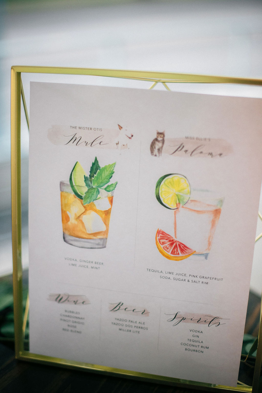 Wedding signature drinks sign: Intimate Wedding Celebration by Details Nashville