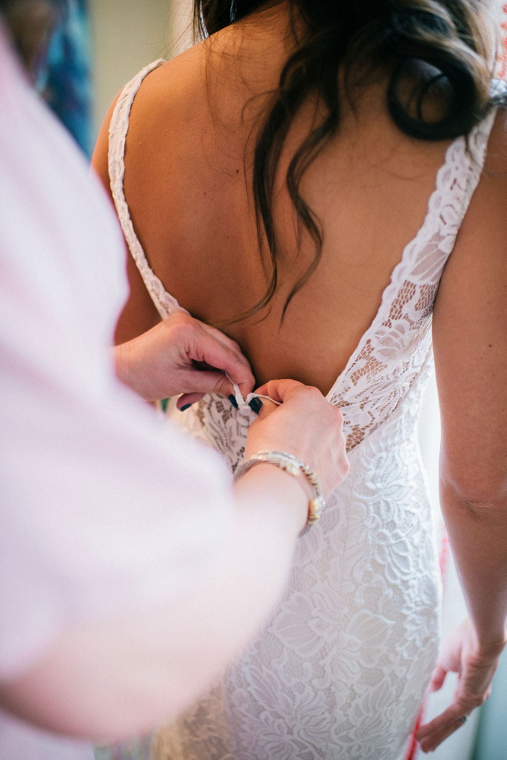 Lace wedding dress details for Intimate Nashville wedding