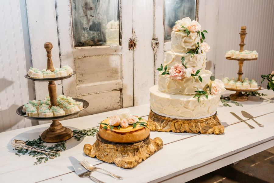 Wedding dessert table: Rustic Front Porch Farms wedding featured on Nashville Bride Guide