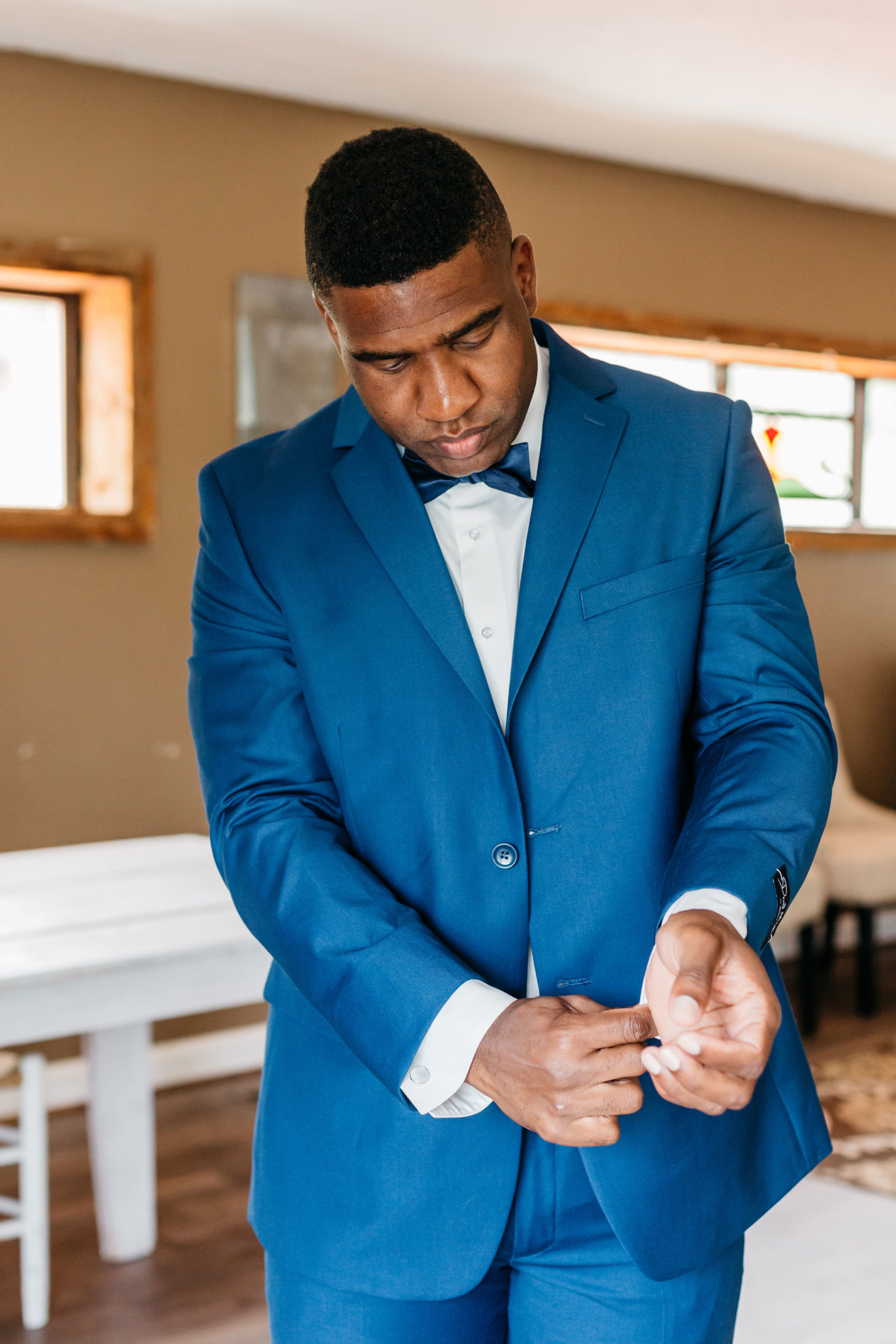 Blue grooms attire: Rustic Front Porch Farms wedding featured on Nashville Bride Guide