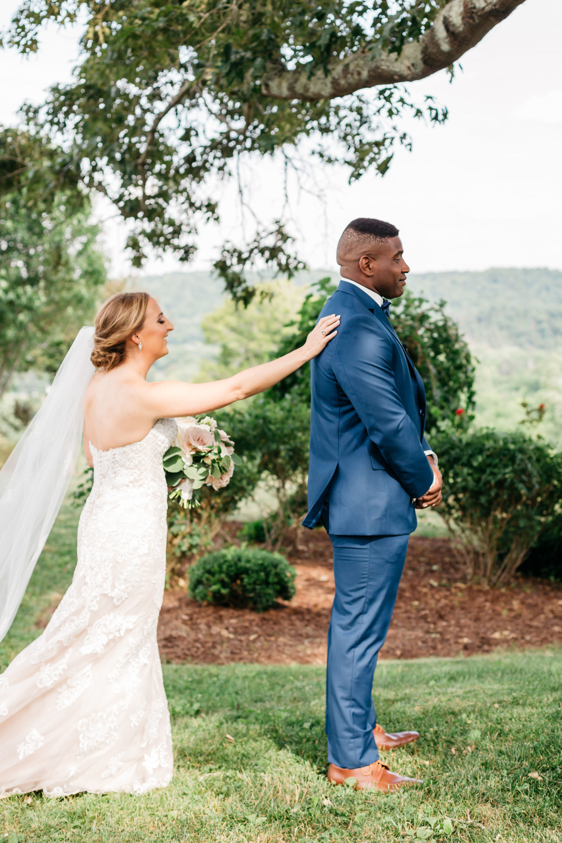 Wedding first look: Rustic Front Porch Farms wedding featured on Nashville Bride Guide