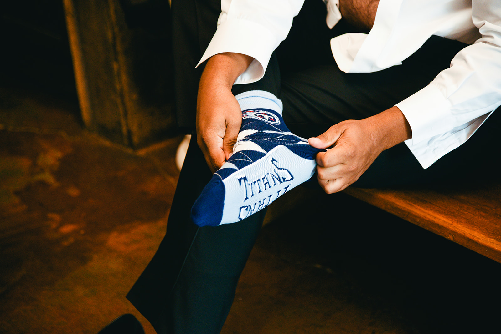 Grooms socks: Elegant Cason Cove Wedding featured on Nashville Bride Guide