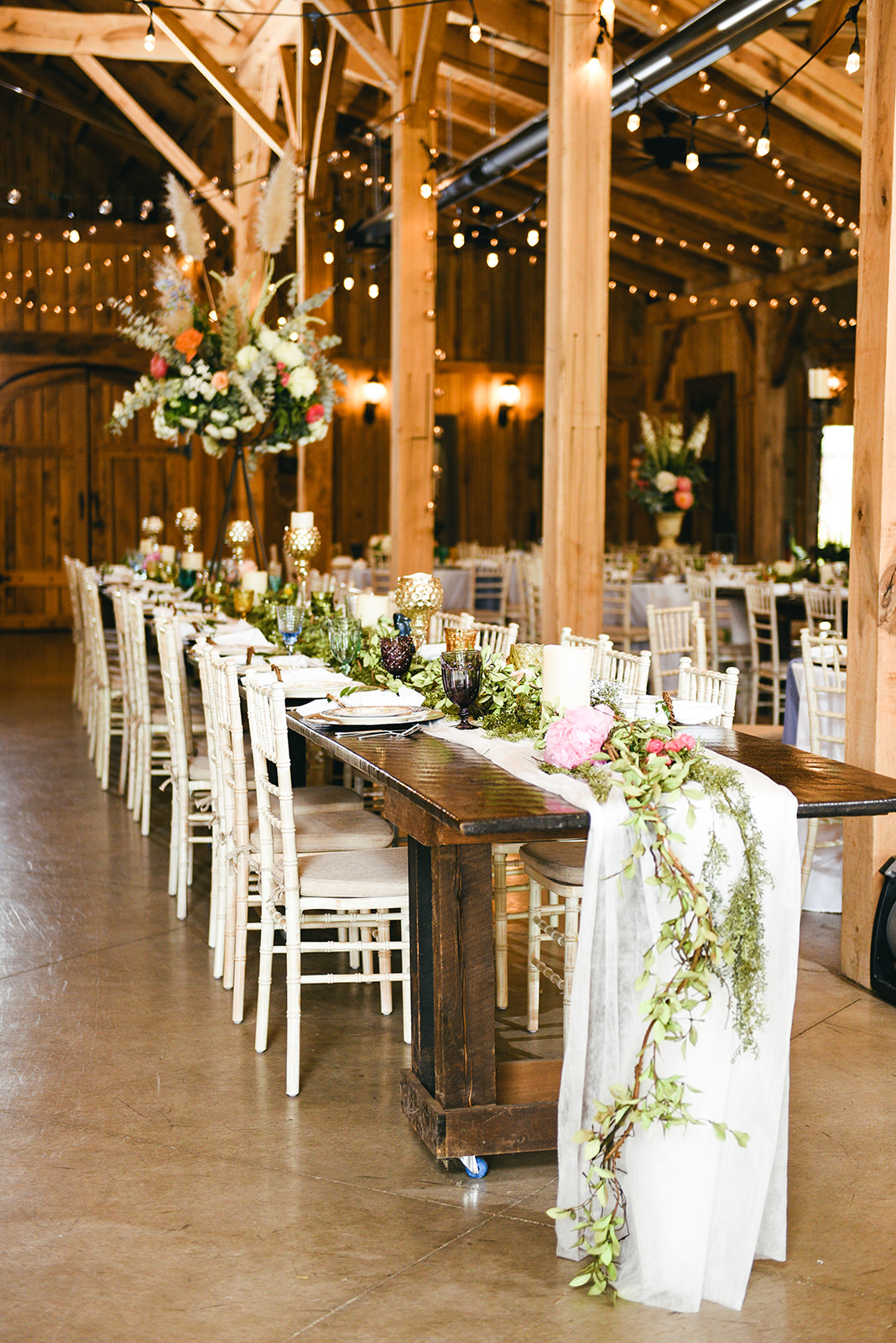 Greenery wedding table runner: Elegant Cason Cove Wedding featured on Nashville Bride Guide
