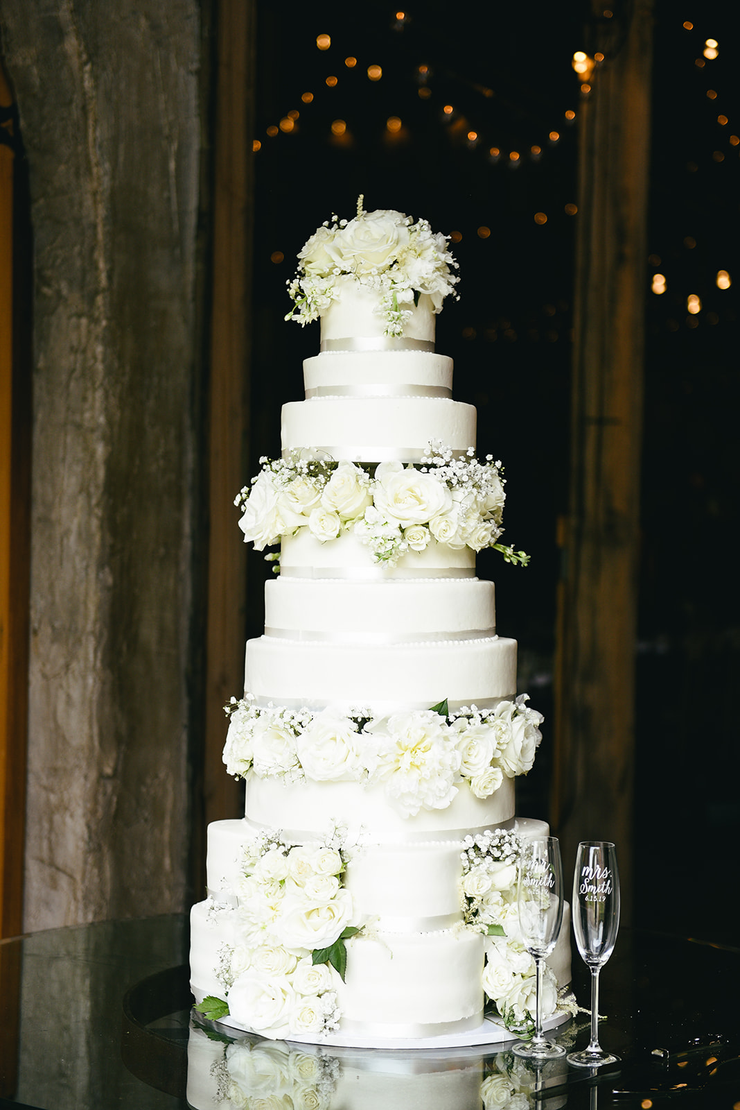 All white wedding cake design: Elegant Cason Cove Wedding featured on Nashville Bride Guide