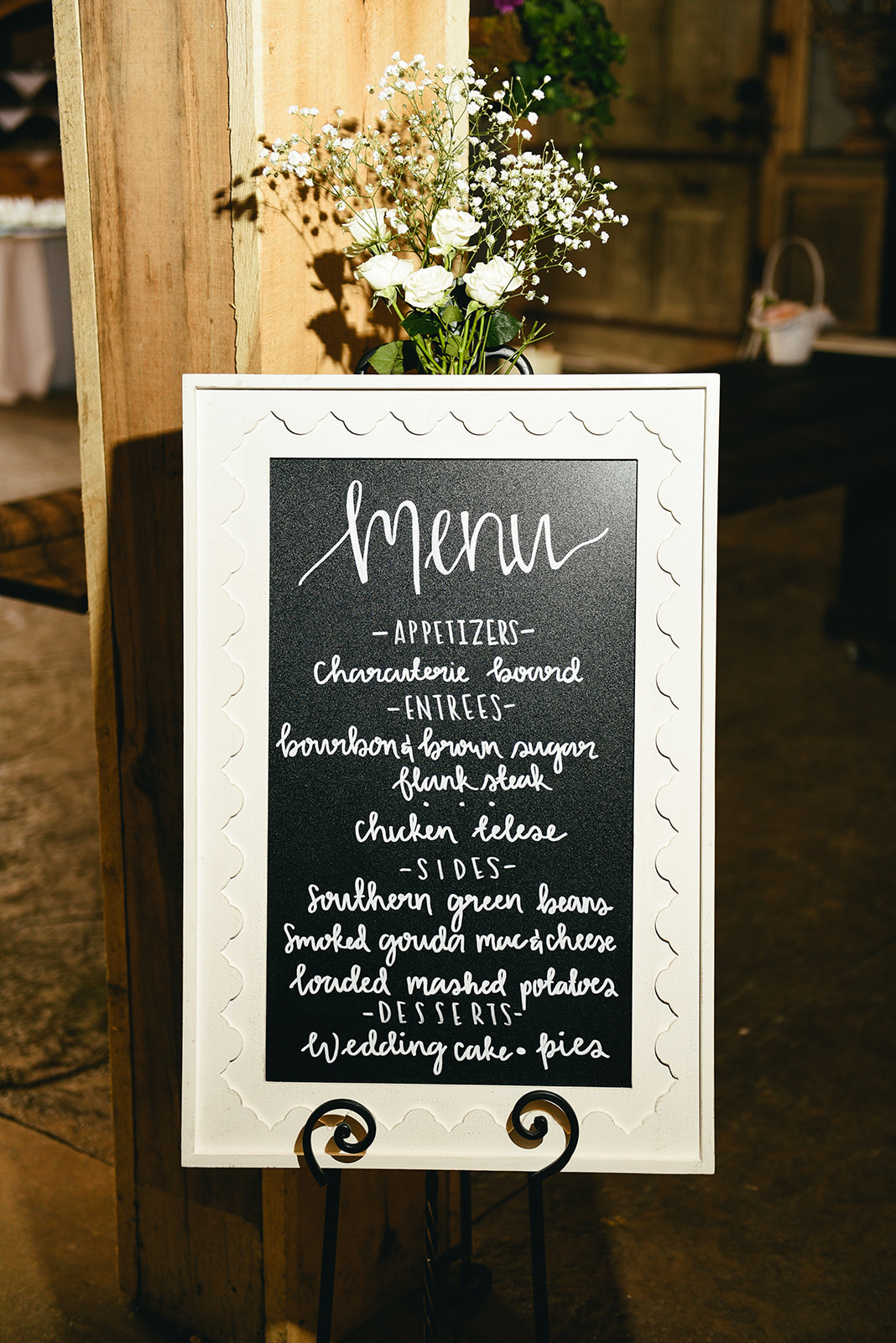 Wedding menu sign: Elegant Cason Cove Wedding featured on Nashville Bride Guide