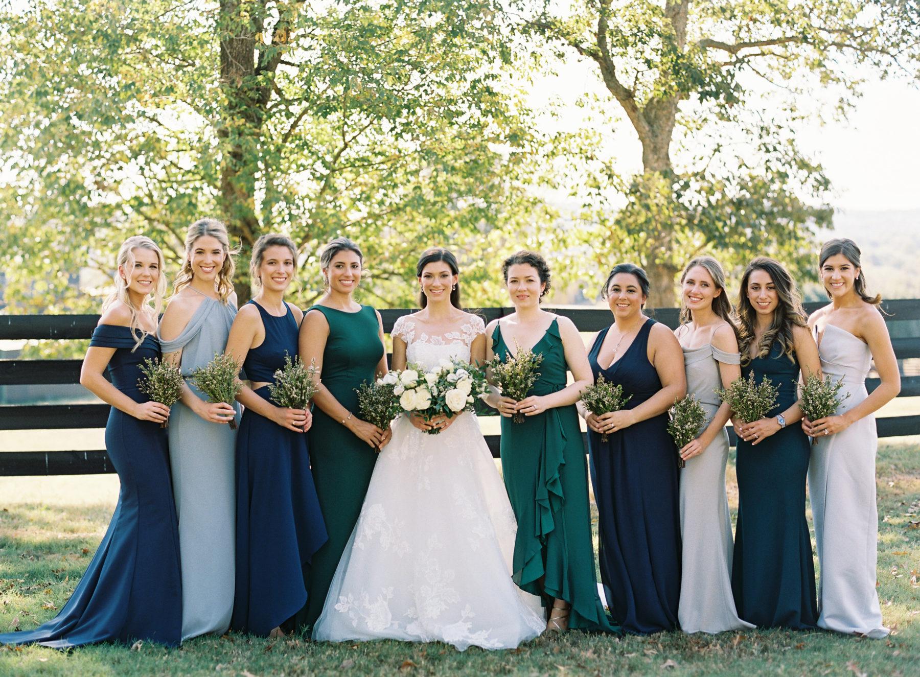 Mismatched bridesmaid dresses for fall Nashville wedding