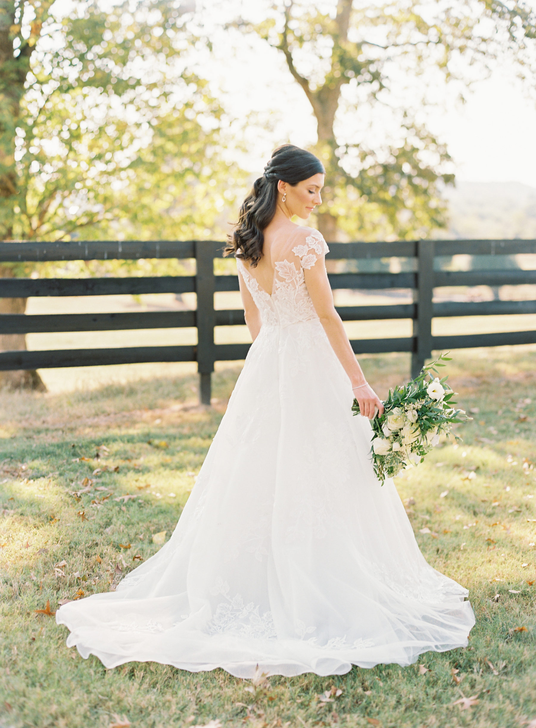 Lace wedding dress: Fall Nashville wedding at Autumn Crest Farm featured on Nashville Bride Guide