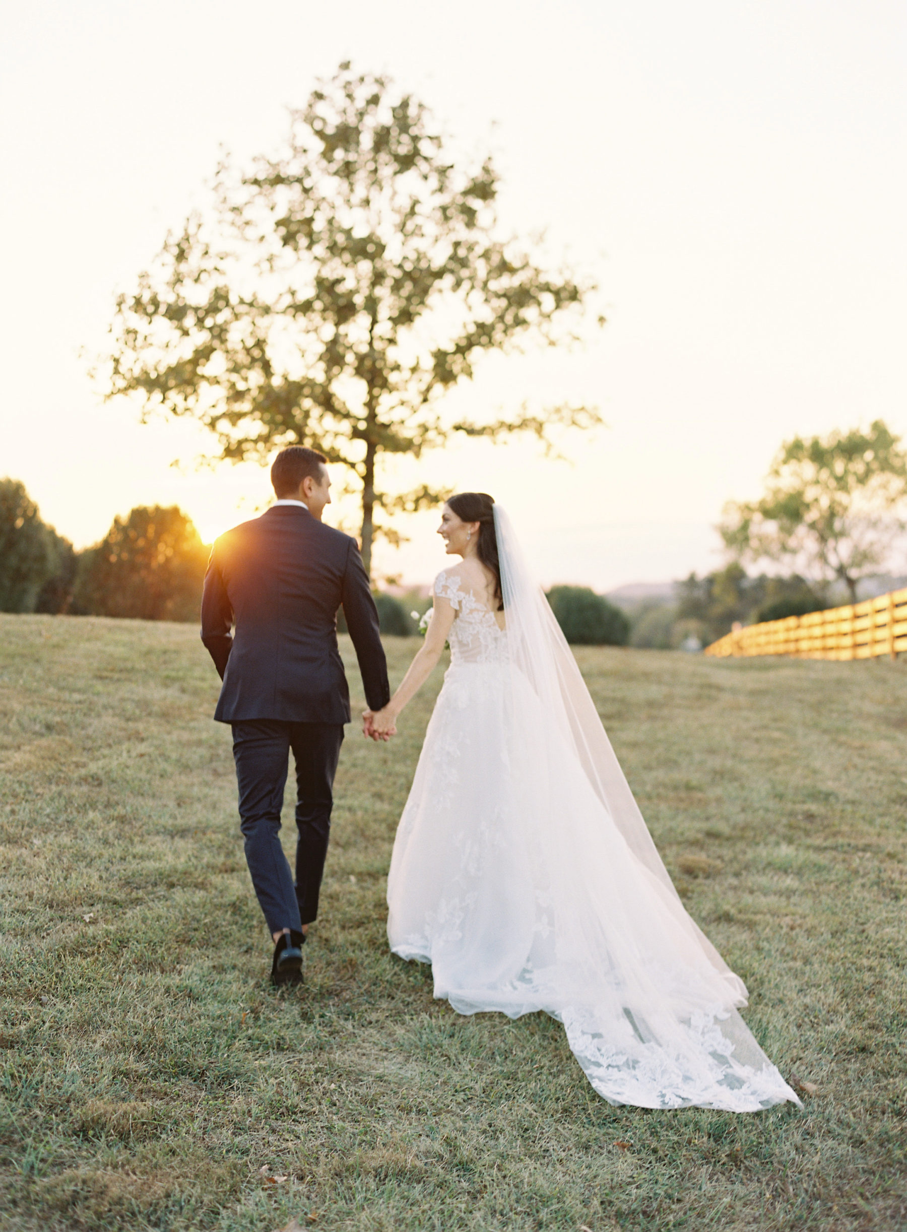 Golden hour wedding photos at Autumn Crest Farm captured by Nathan Westerfield