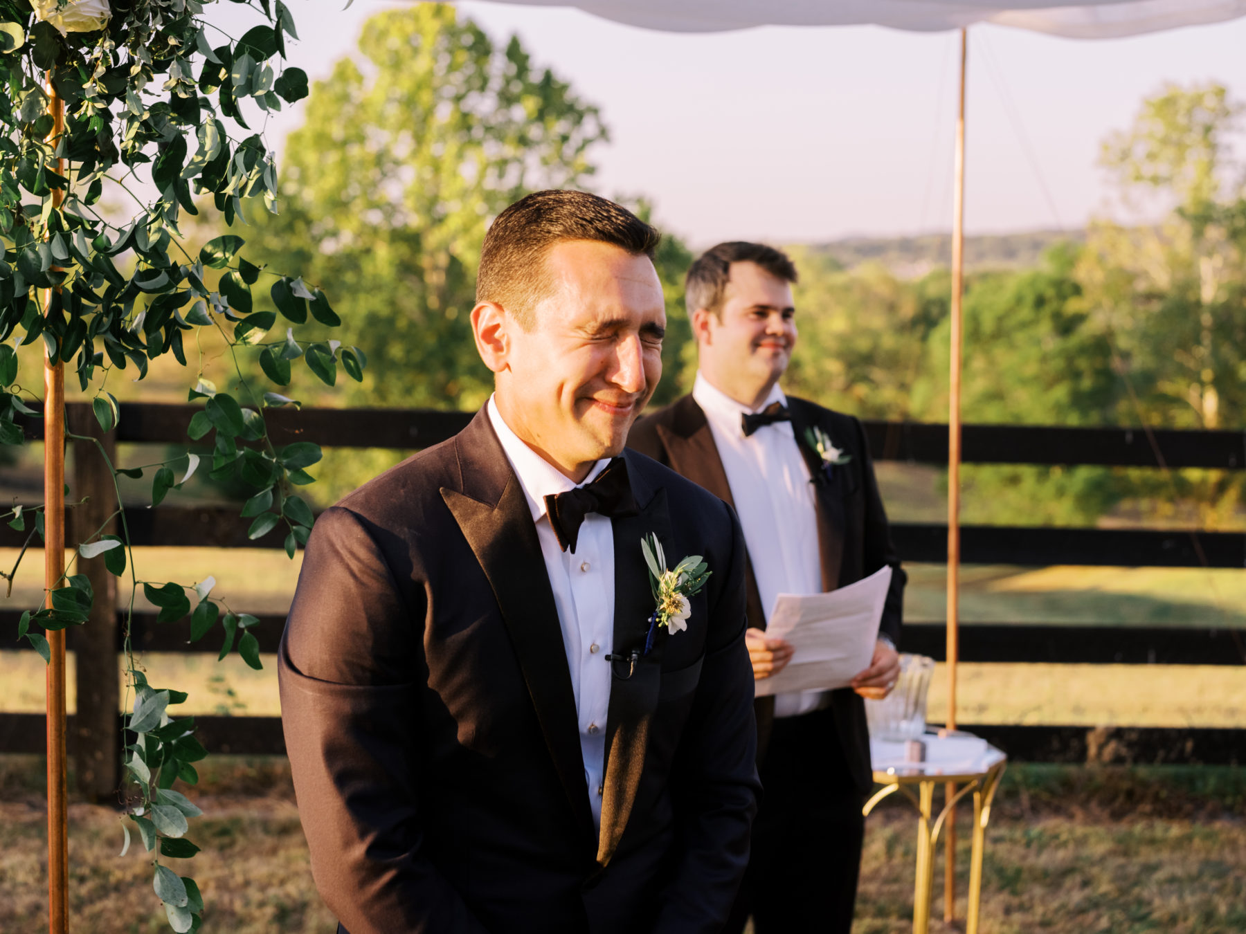 Grooms reaction during wedding ceremony at Autumn Crest Farm