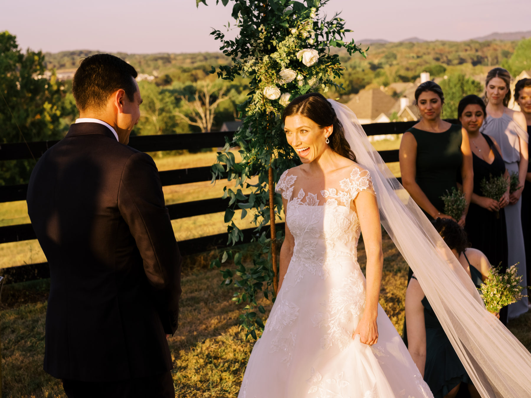 Outdoor wedding ceremony at Autumn Crest Farm