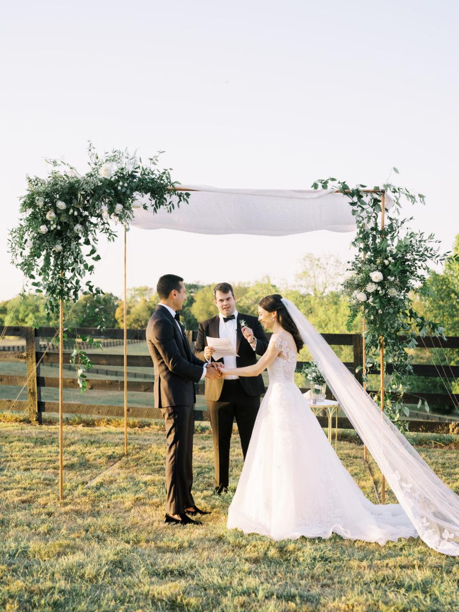 Outdoor wedding ceremony decor for fall Autumn Crest Farm wedding