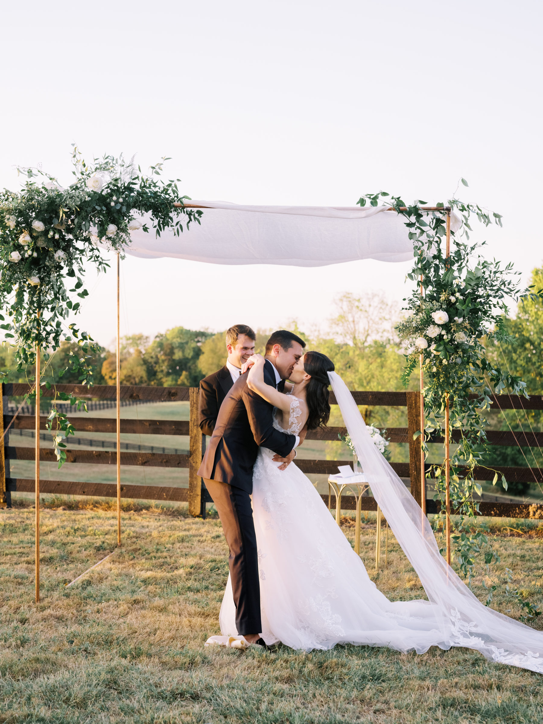 Greenery wedding chuppah captured by Nathan Westerfield