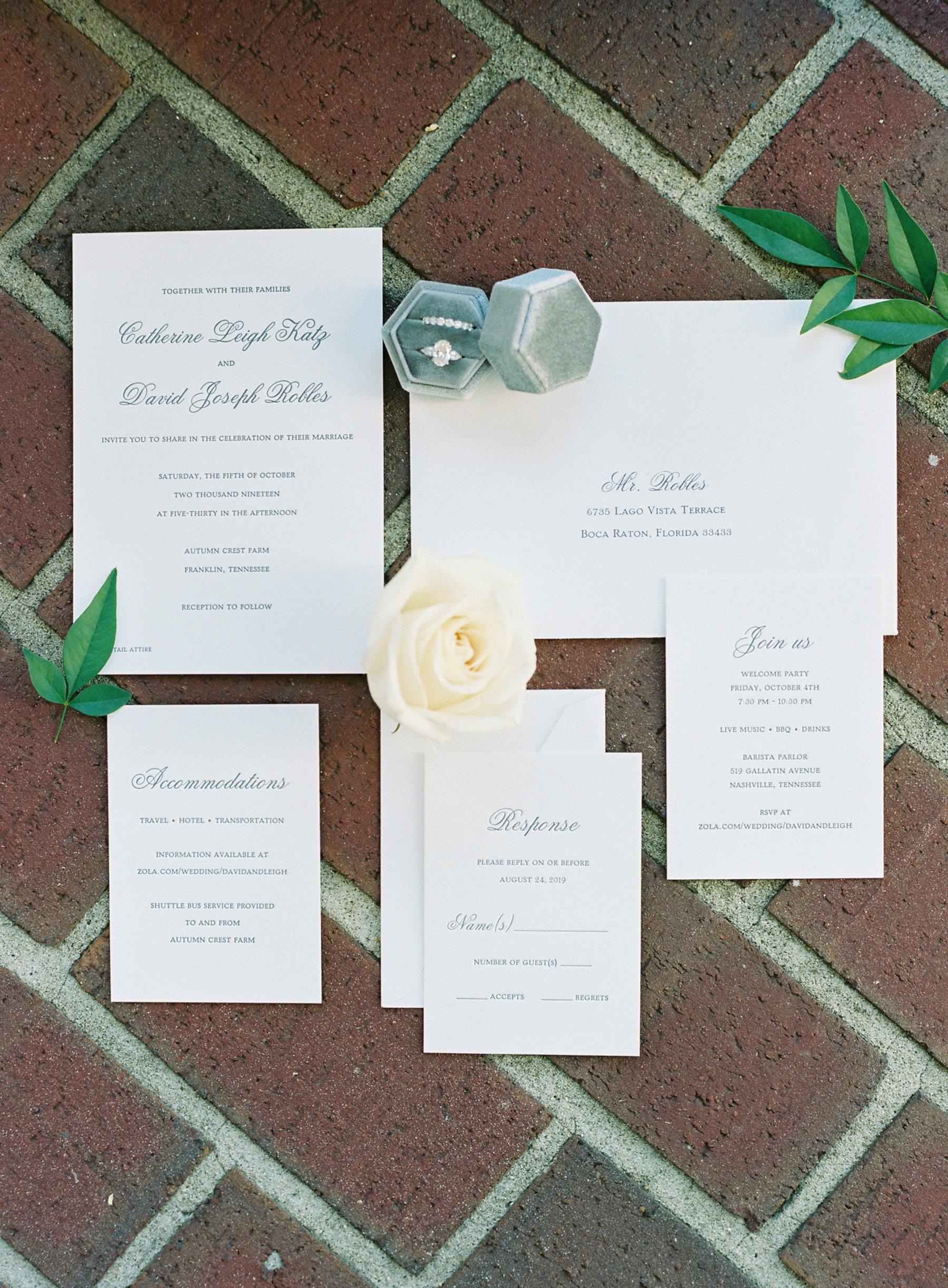 Minimalistic wedding invitation design