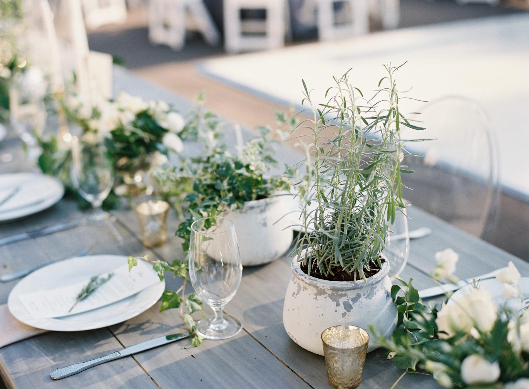 Greenery wedding reception decor
