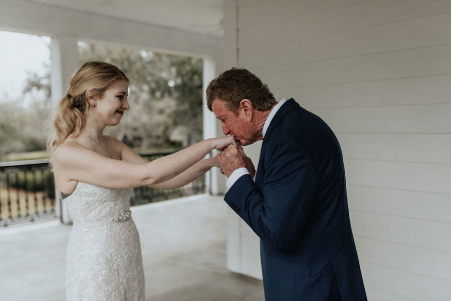 Father/daughter first look: Magical Winter Wedding by Meghan Melia Photography featured on Nashville Bride Guide!