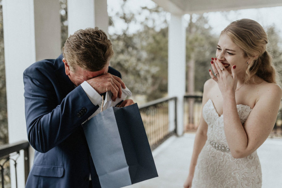 Father/daughter wedding first look: Magical Winter Wedding by Meghan Melia Photography featured on Nashville Bride Guide!