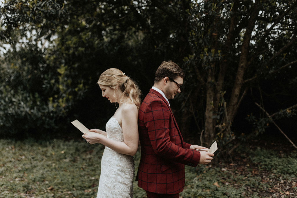 Bride and groom first look: Magical Winter Wedding by Meghan Melia Photography featured on Nashville Bride Guide!