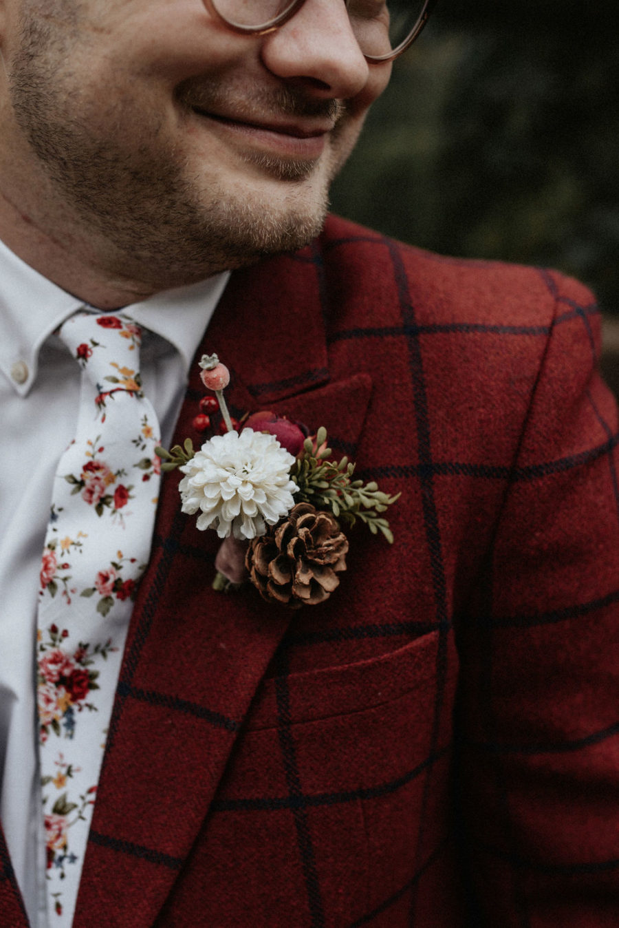 Checkered red wedding tuxedo: Magical Winter Wedding by Meghan Melia Photography featured on Nashville Bride Guide!