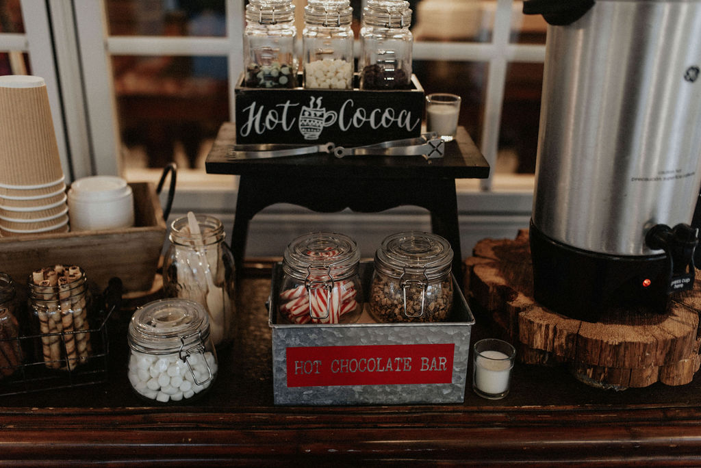 Wedding hot chocolate bar: Magical Winter Wedding by Meghan Melia Photography featured on Nashville Bride Guide!