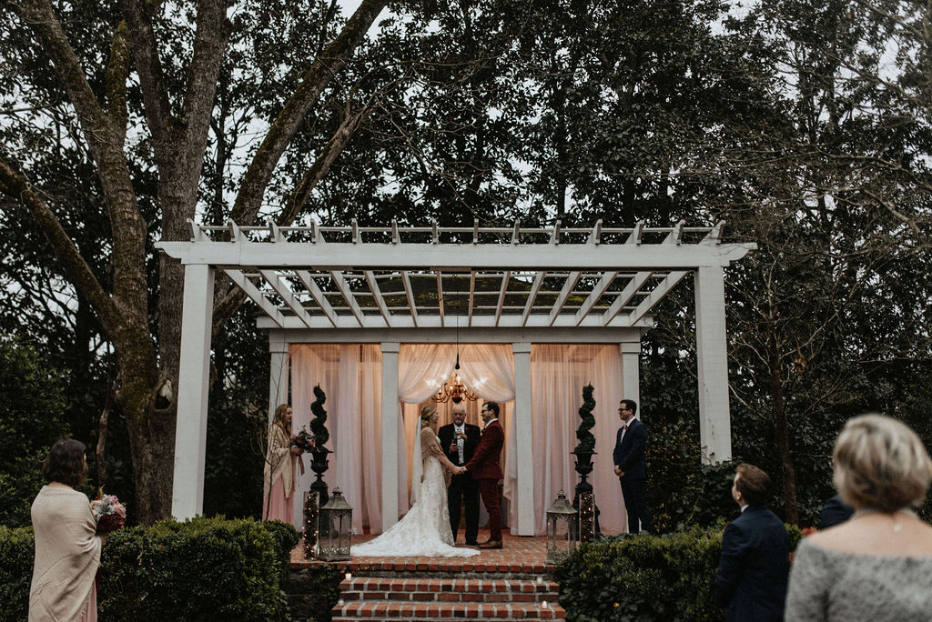 Outdoor winter wedding ceremony: Magical Winter Wedding featured on Nashville Bride Guide!