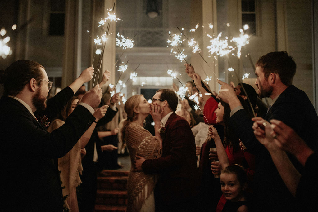 Sparkler wedding exit: Magical Winter Wedding featured on Nashville Bride Guide!