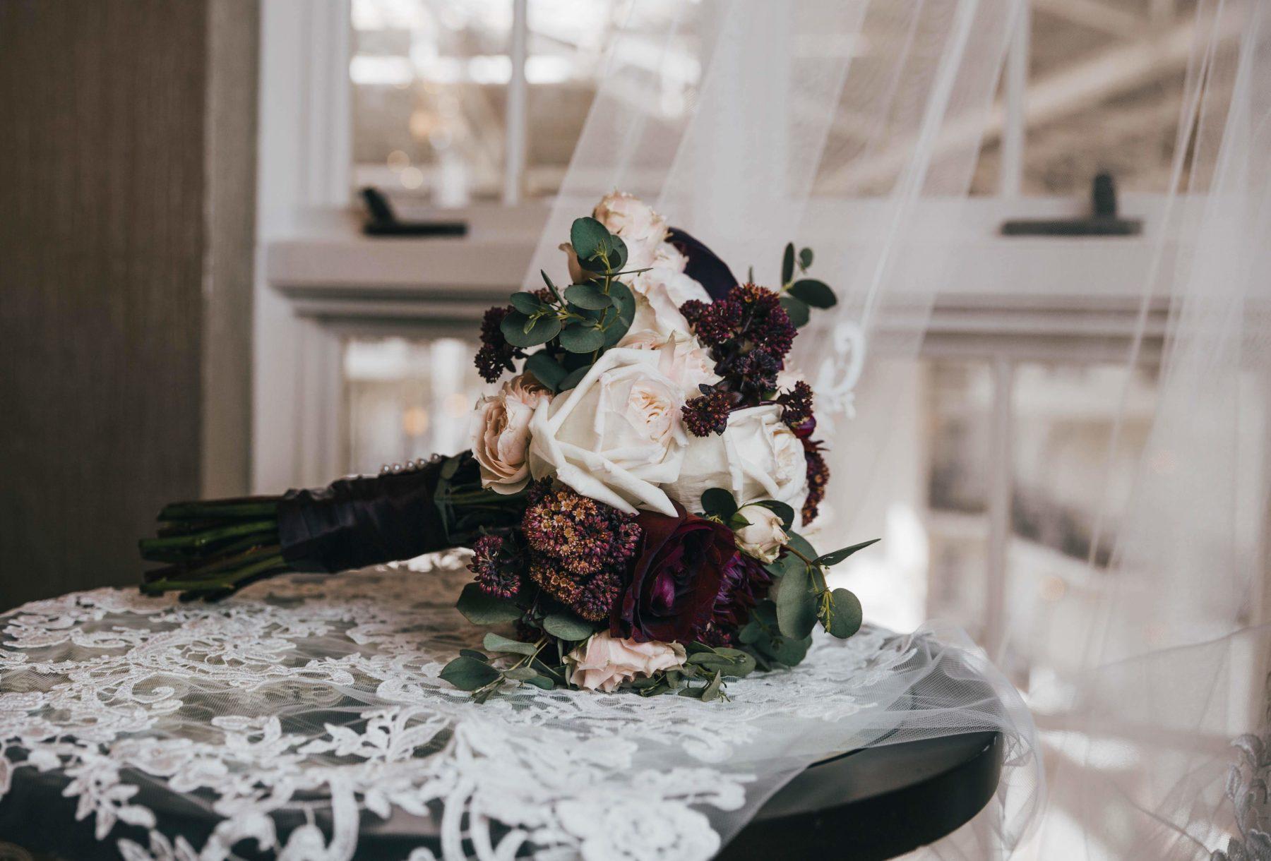 Burgundy and White wedding bouquet design for Opryland Wedding