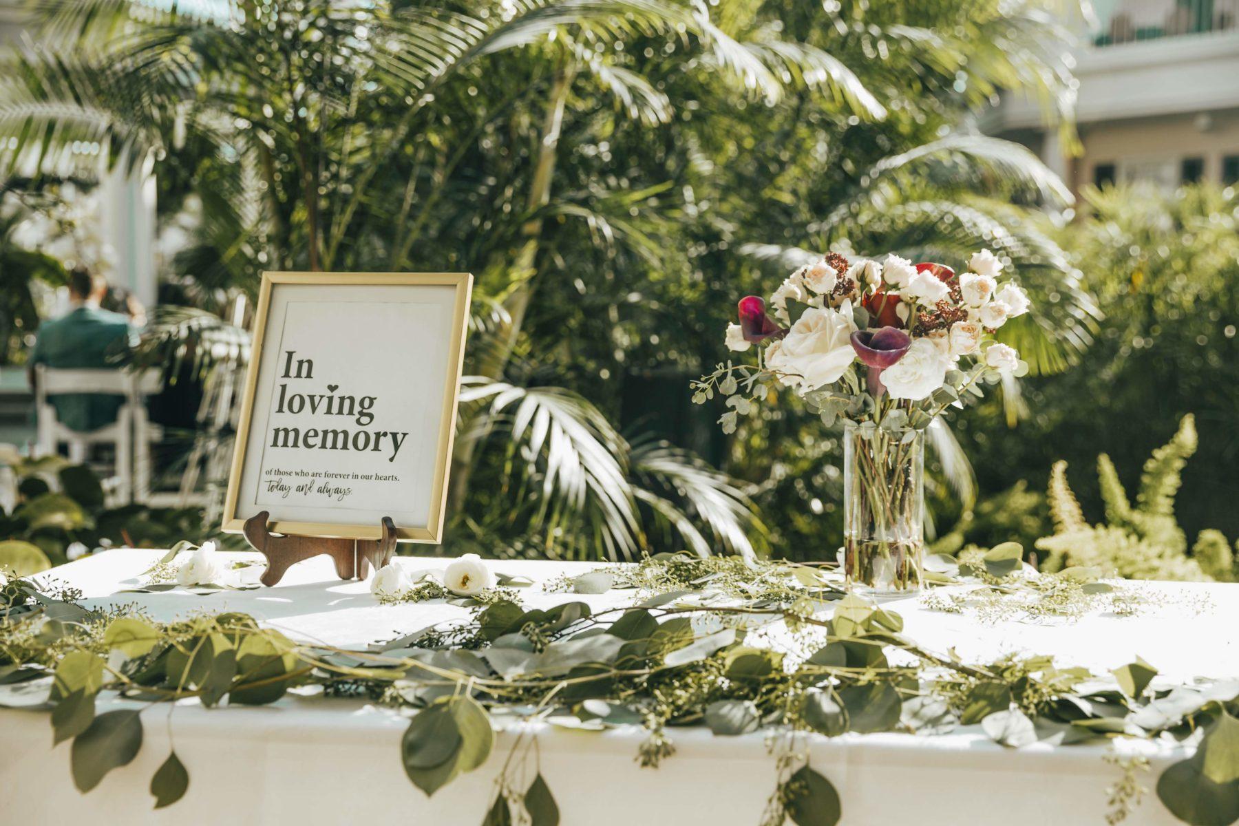 Wedding memorabilia table for Opryland Wedding