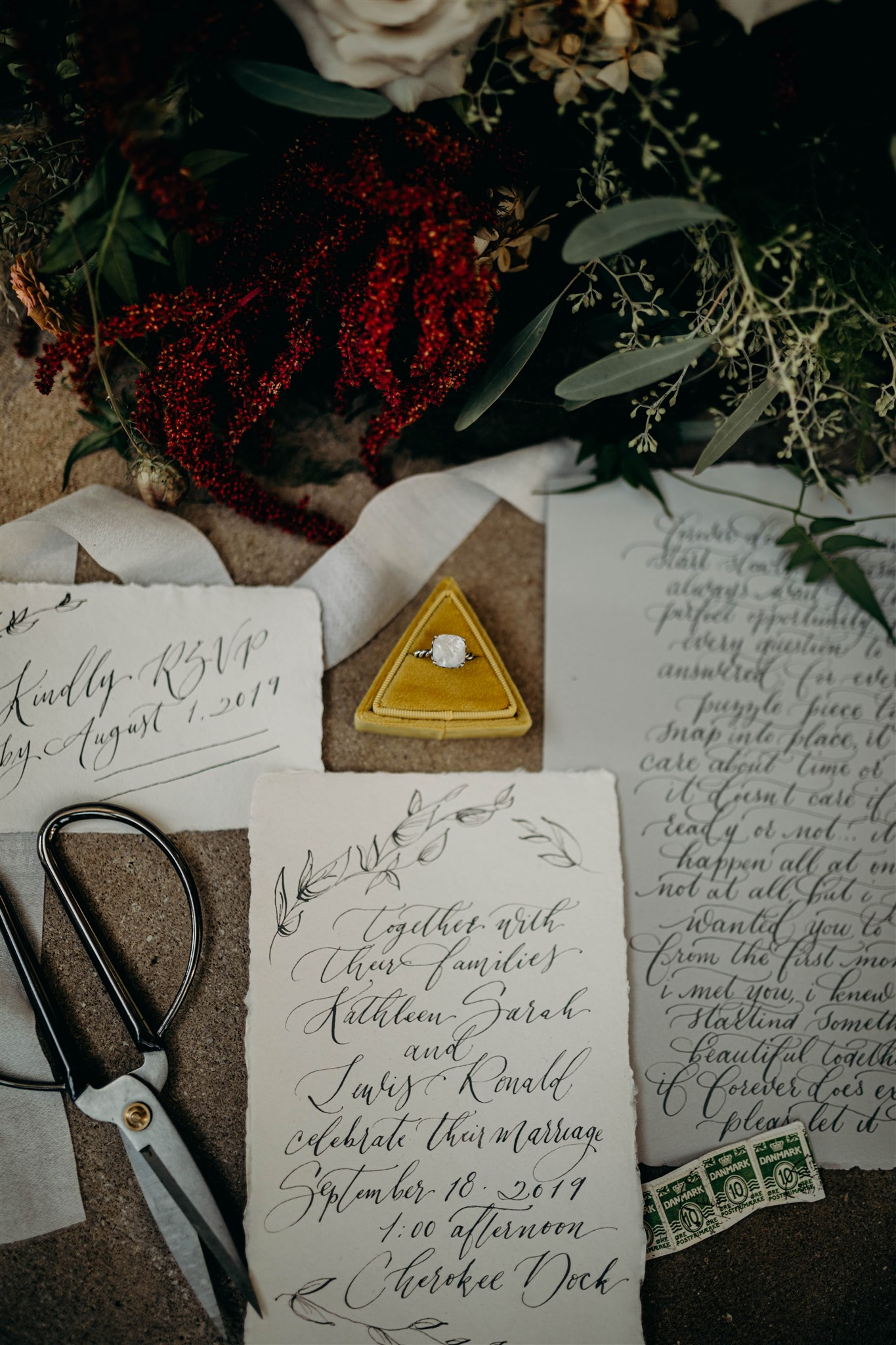 Script wedding invitation design by White Ink Calligraphy